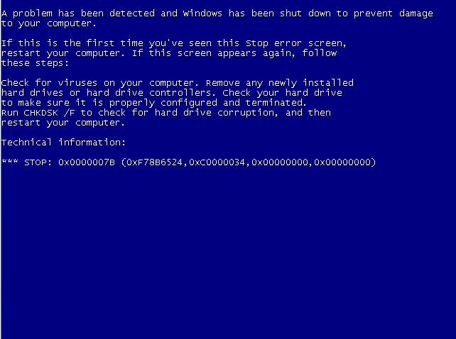 Blue Screen of Death Windows xp xp Blue Screen of Death