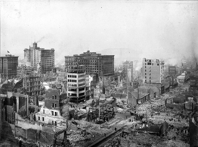 San Francisco Earthquake of 1906: Ruins in vicinity of Post and Grant Avenue. Looking northeast (via WikiPedia)